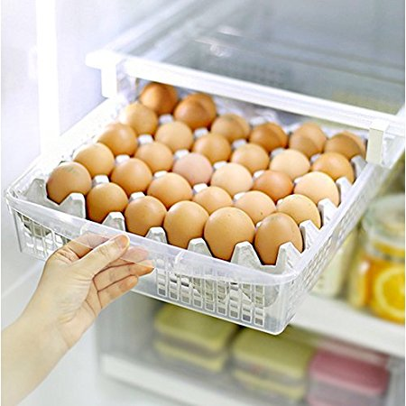 Mia Home 30-Eggs Storage Organizer for Kitchen Refrigerator, Egg Tray, Egg Storage for Fridge, Pull out basket Organizer